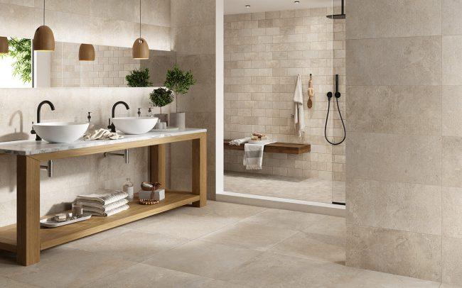 carrelage effet pierre authentique nuancee salle de bain sol mur renovation villa juvignac