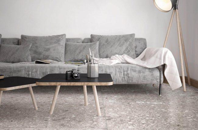 carrelage effet pierre granito terrazzo salon séjour aménagement décoration construction maison lunel