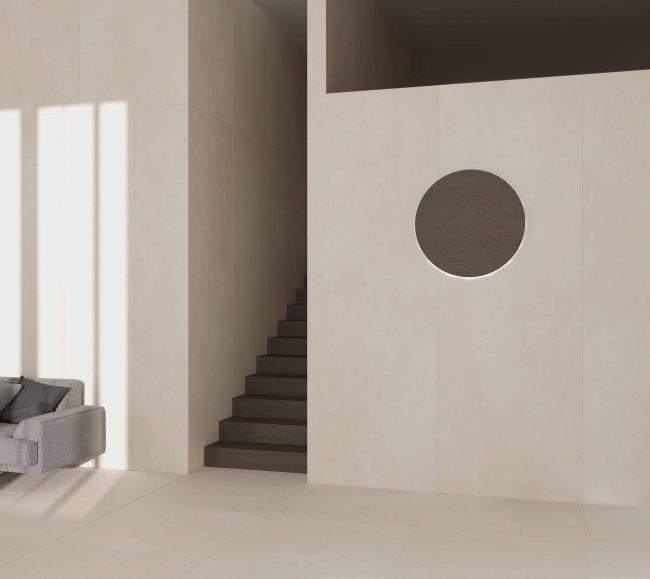 carrelage effet pierre moderne salon sejour beige crème construction lauret