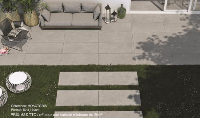 carrelage effet pierre nuancée moderne terrasse exterieur interieur salon renovation saint clement de rivière