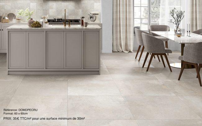 carrelage effet pierre nuancée salle a manger cuisine salon sejour style contemporain appartement renovation mudaison