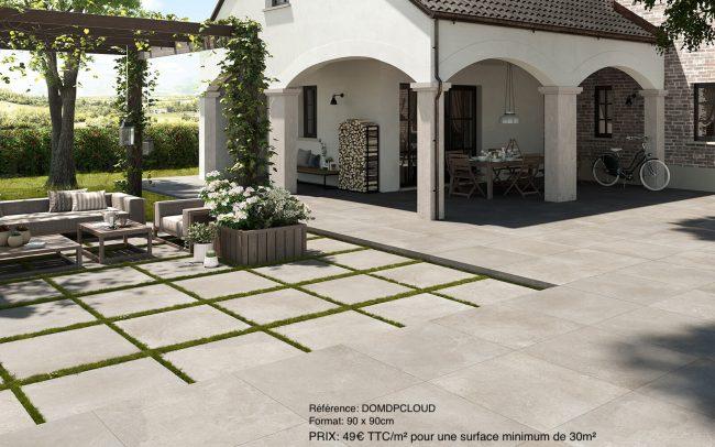 carrelage effet pierre nuancée style moderne contemporain terrasse exterieur salon villa renovation sussargues