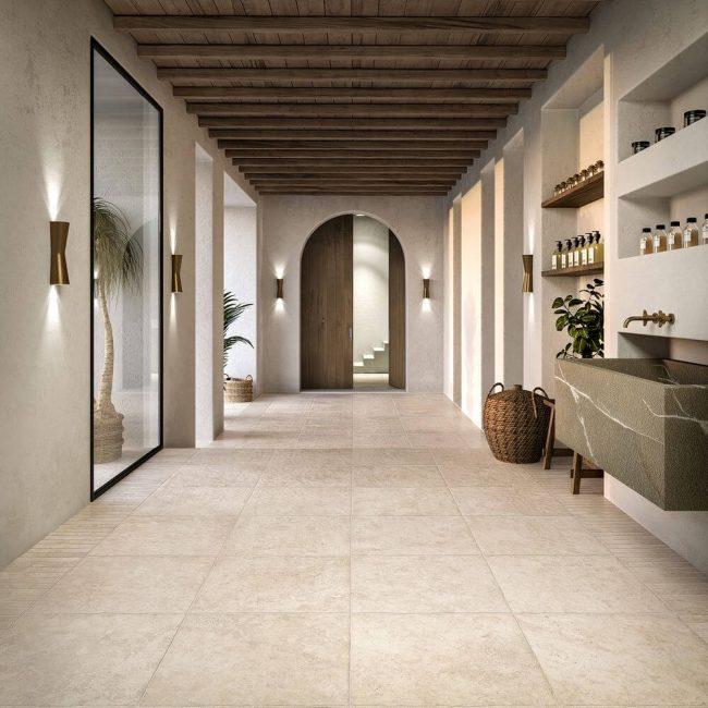 carrelage effet pierre traditionnelle entrée salon rénovattion montpellier