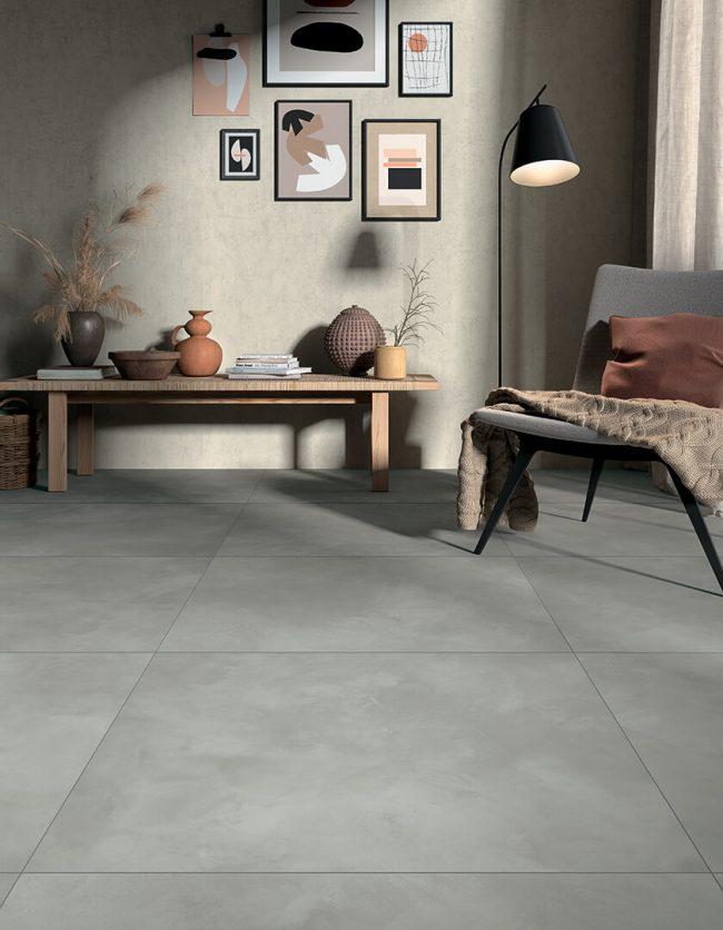 carrelage effet resine beton spatulé salon sejour appartement saint jean de vedas construction