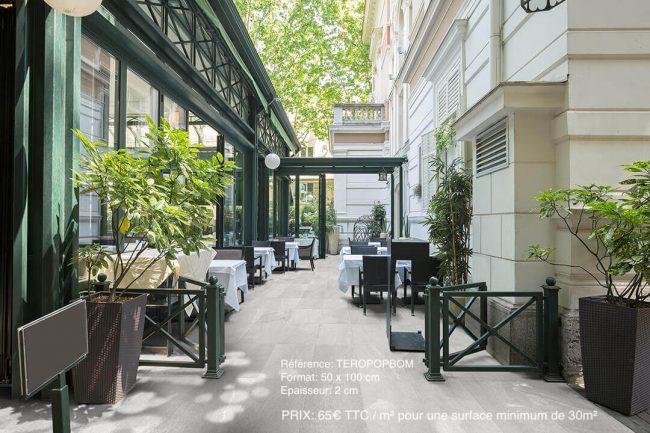 carrelage exterieur restaurant effet pierre grand format renovation montpellier