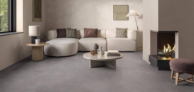 carrelage grand format sol salon séjour aménagement décoration nature construction maison individuelle teyran