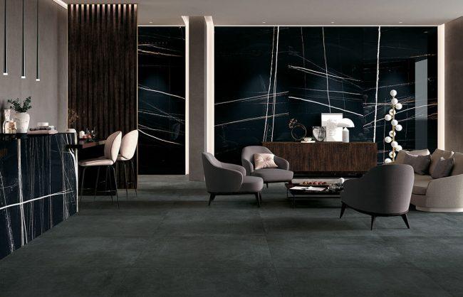 carrelage grand format effet marbre noir mur amenagement decoration hotel restaurant hall entree construction saint aunes