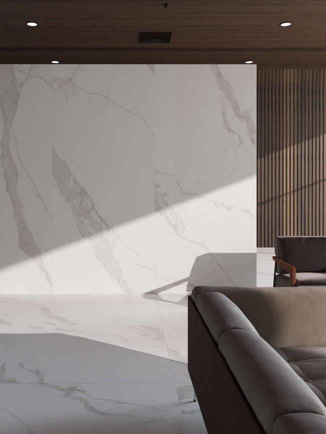 carrelage grand format effet marbre sol mur décoration salon séjour maison moderne Carnon