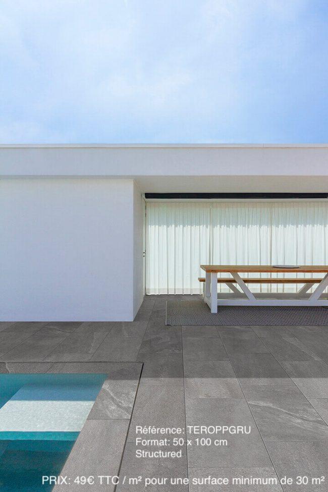 carrelage grand format effet pierre antiderapant exterieur terrasse piscine jacou construction