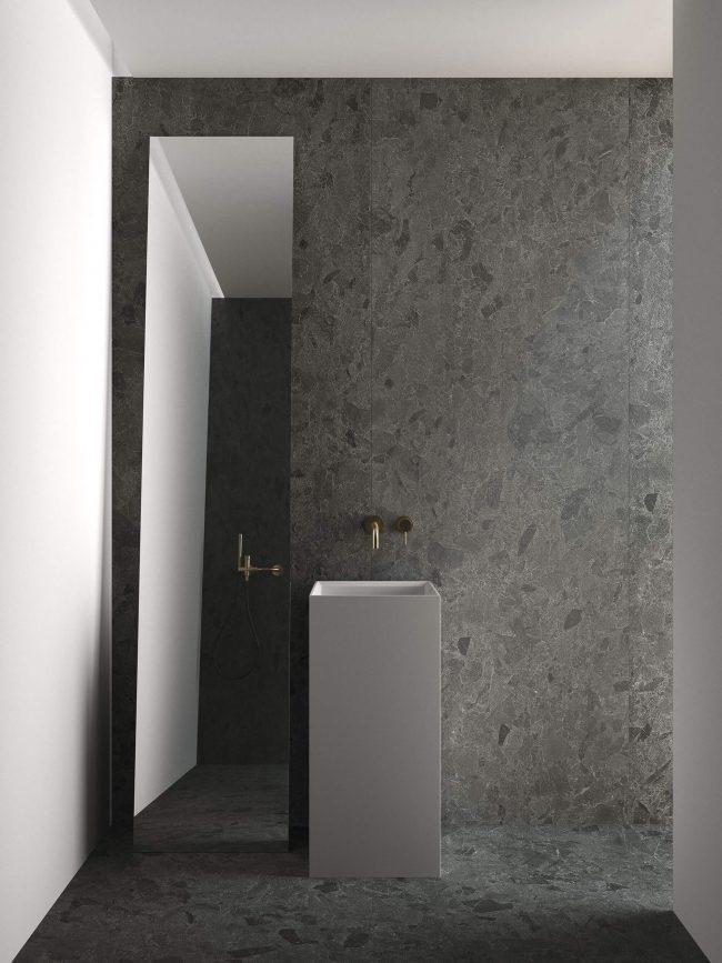 carrelage grand format effet pierre granité granito décoration salle de bain sol mur aménagement rénovation appartement centre Mauguio