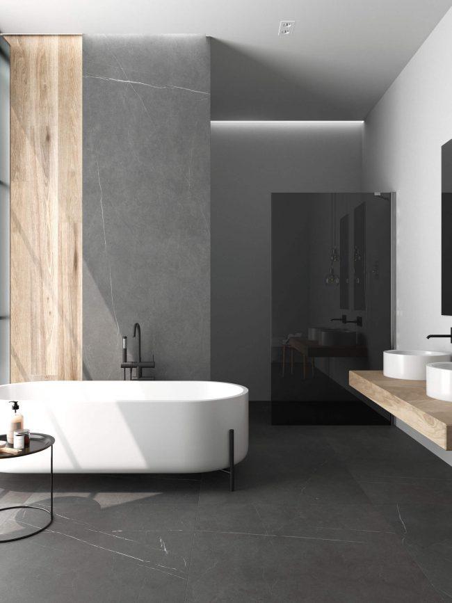 carrelage grand format effet pierre marbre décoration salle de bain aménagement rénovation construction villa Pérols