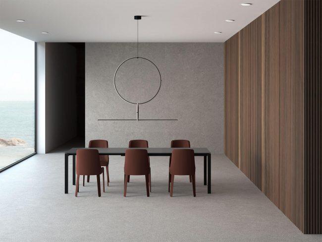 carrelage grand format salle a manger aménagement décoration sol mur maison contemporaine Villeneuve les Maguelone