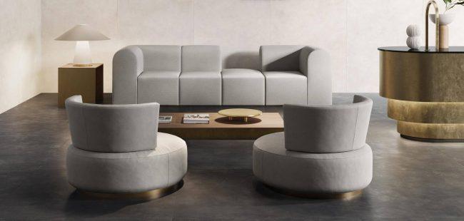carrelage grand format sol salon séjour ambiance art deco rénovation appartement centre ville Castelnau le lez
