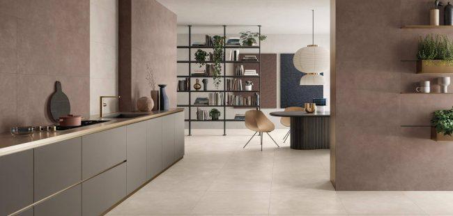 carrelage grand format sol salon séjour salle a manger aménagement décoration couleur naturelle rénovation maison Poussan
