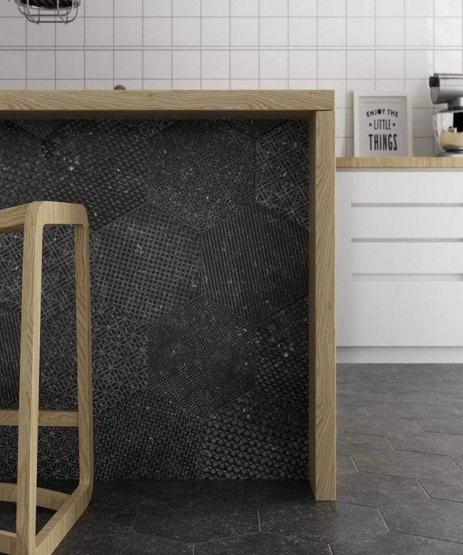 carrelage hexagonal effet granito a motif terrazzo aménagement rénovation cuisine bar maison saint aunes