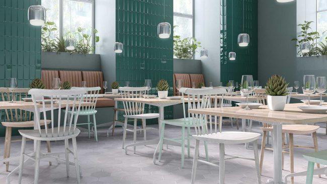 carrelage hexagonal gris pierre béton sol restaurant café aménagement architecture intérieure décoration Restinclières
