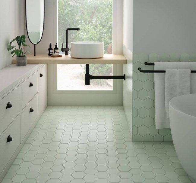 carrelage hexagonal moderne sol salon séjour motif beige appartement Mauguio