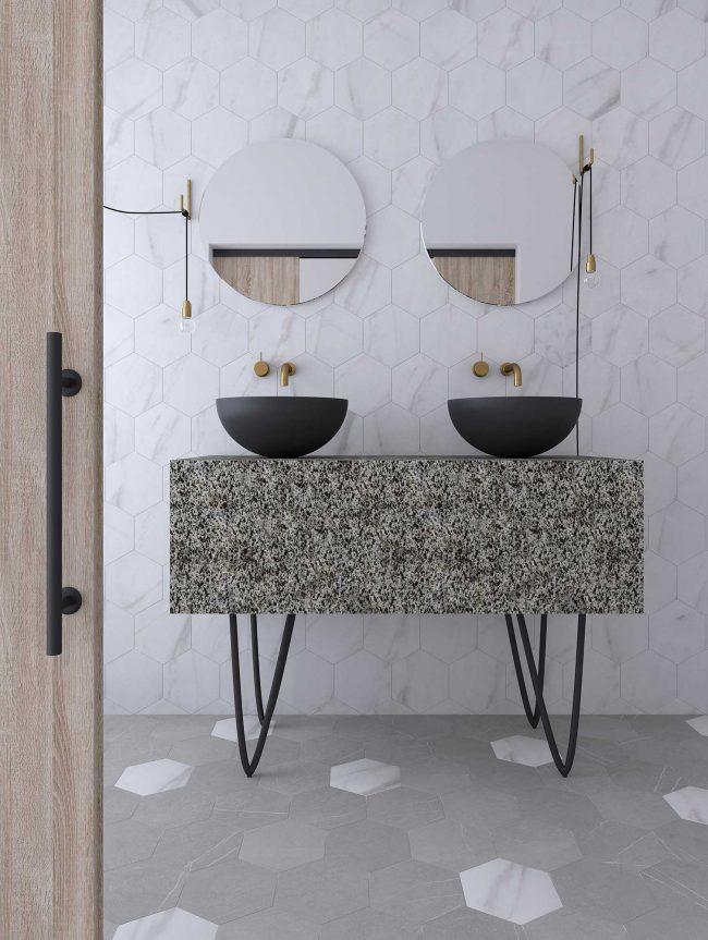 carrelage hexagone pierre marbre décoration salle de bain aménagement sol mur tendance construction villa individuelle saint jean de vedas