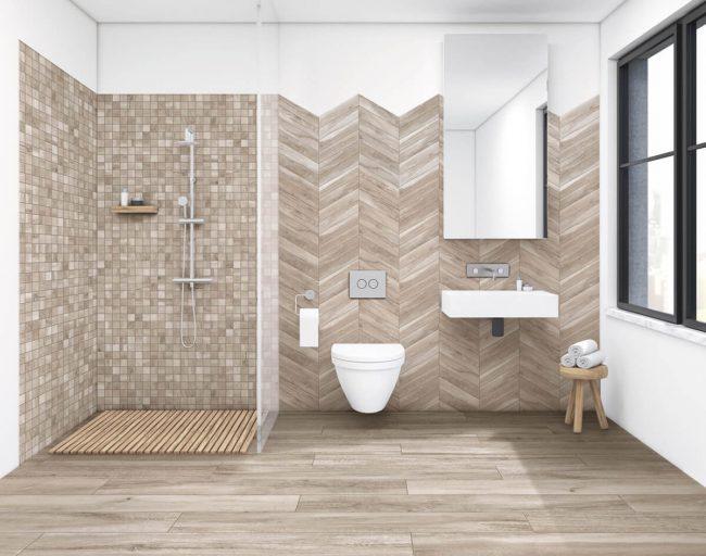 carrelage intérieur bois effet parquet naturel salle de bain douche rénovation montpellier