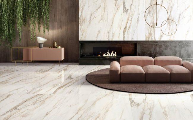 carrelage marbre sol mur art deco tendance minimaliste selon sejour cheminee maison construction montpellier