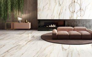 carrelage marbre sol mur art deco tendance minimaliste selon séjour cheminée maison construction Montpellier
