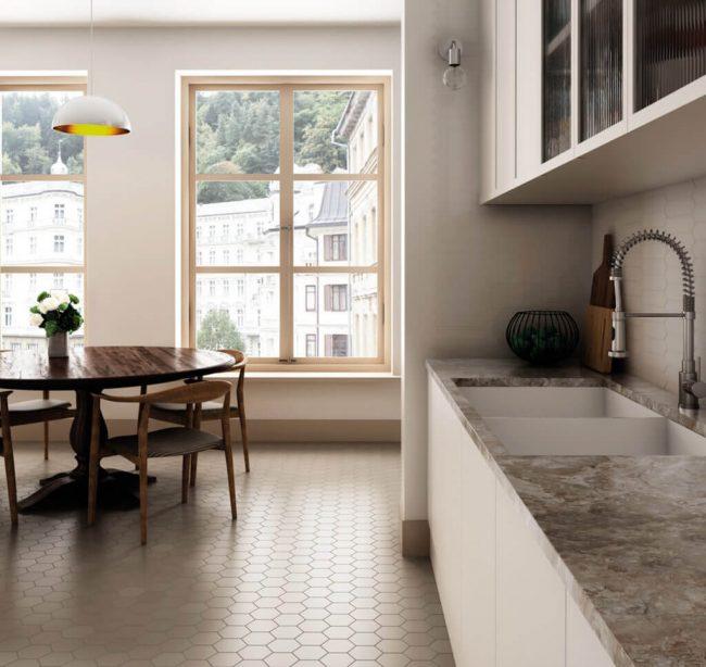 carrelage moderne hexagone tomette rénovation salon séjour salle a manger cuisine appartement Jacou