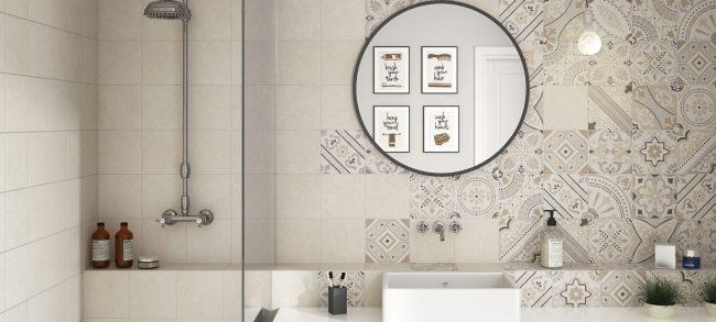 carrelage mur crédence salle de bain effet granito motif carreaux de ciment construction maison individuelle Cournonterral