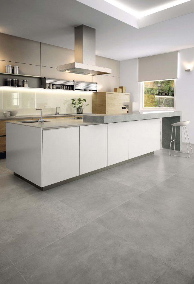 carrelage pierre moderne cuisine minimaliste gris blanc construction saint mathieu de treviers