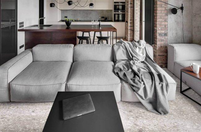 carrelage salon salle a manger séjour cuisine effet pierre granito terrazzo gris clair galet rénovation appartement décoration industrielle authentique clapiers