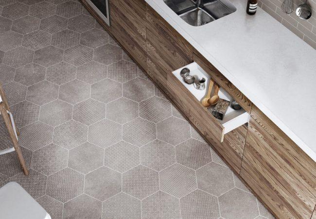 carrelage sol cuisine hexagonal effet pierre béton rénovation bois blanc appartement Lavérune