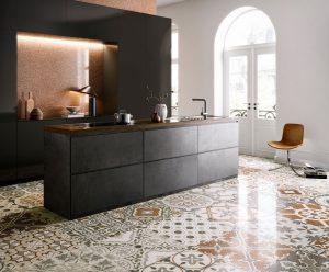 carrelage sol effet granito brillant motif carreau de ciment décoration aménagement cuisine habillage crédence rénovation appartement saint Georges d'orques