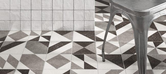 carrelage sol effet granito motifs géométriques ambiance industrielle rénovation maison village Poussan