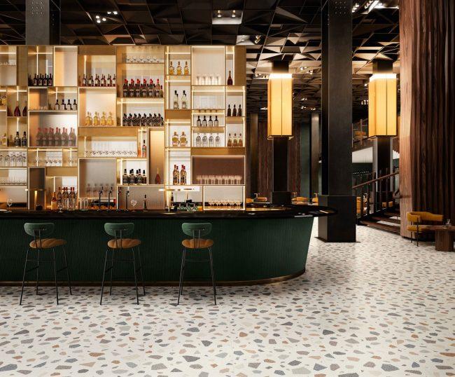 carrelage sol effet granito terrazzo coloré tendance aménagement décoration restaurant bar saint jean de vedas