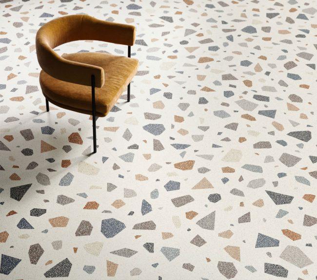 carrelage sol effet granito terrazzo motifs couleurs rénovation aménagement décoration appartement centre ville Montpellier