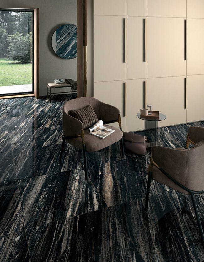 carrelage sol effet marbre noir brillant hall entree hotal restaurant maison construction valflaunès