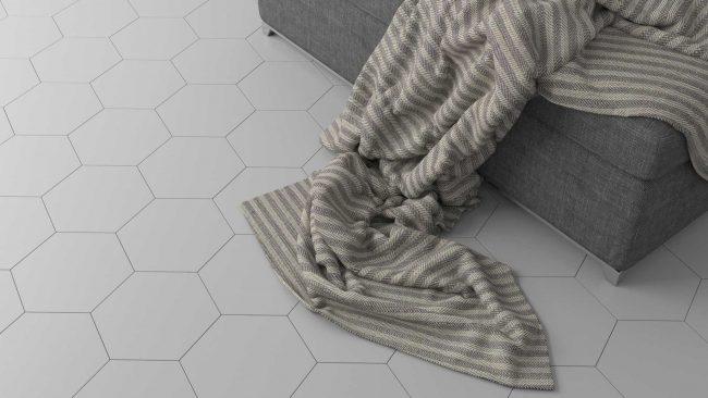 carrelage sol hexagonal blanc mat aménagement salon séjour rénovation appartement centre ville saint aunes