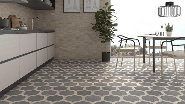 carrelage sol mix effet pierre effet bois forme hexagonal aménagement rénovation cuisine blanc bois maison saint Clément de rivière