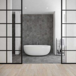carrelage sol mur hexagonal effet pierre béton salle de bain baignoire chambre parquet bois aménagement décoration maison clapiers