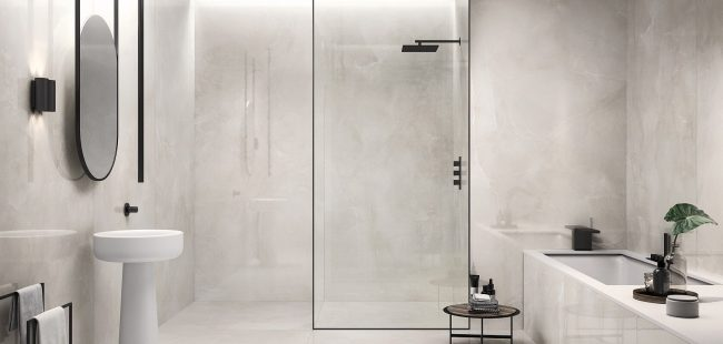 carrelage sol mur marbre brillant nuance blanc gris salle de bain douche construction maison baillargues