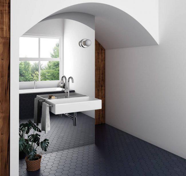 carrelage sol tomette bleu nuit bleu roi décoration aménagement salle de bain inspiration santorin maison construction saint Mathieu de treviers