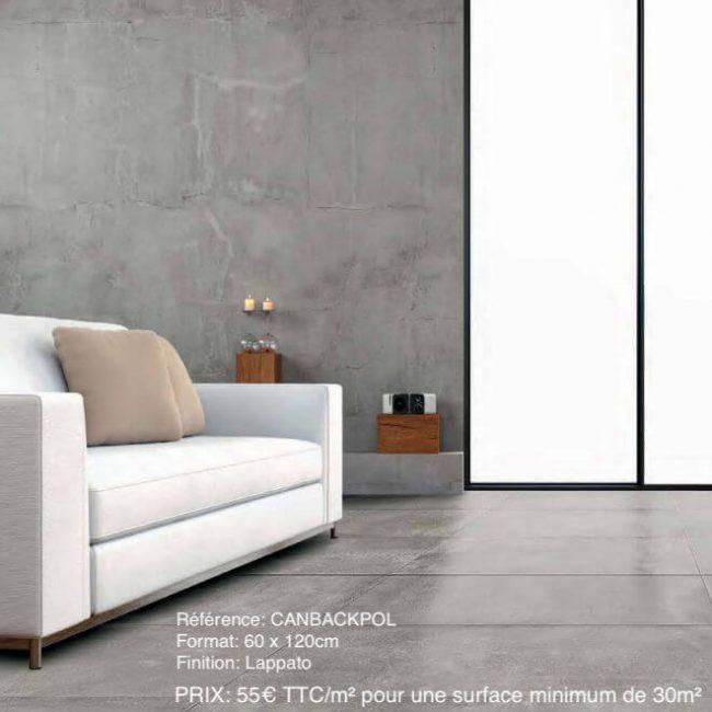 carrelage effet béton brillant beton ciré salon sejour rénovation villa saint jean de vedas