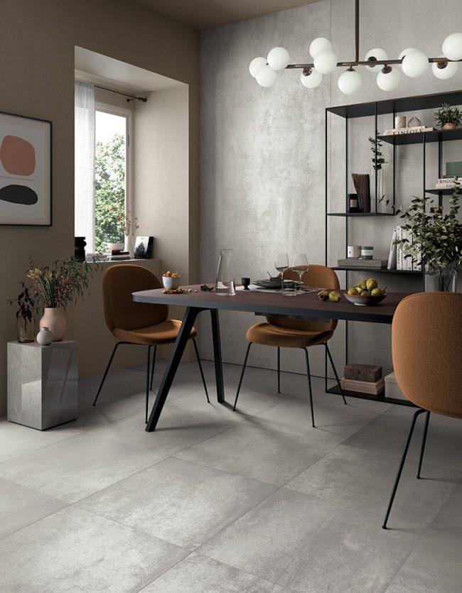 carrelage aspect métal plaque métallique alu salle a manger moderne saint jean de vedas rénovation appartement