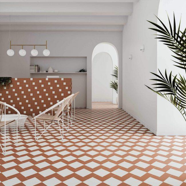 carrelage au sol tendance calepinage terracotta blanc dans une crédence cuisine pour un style intemporel d une maison de maitre de Vendargues