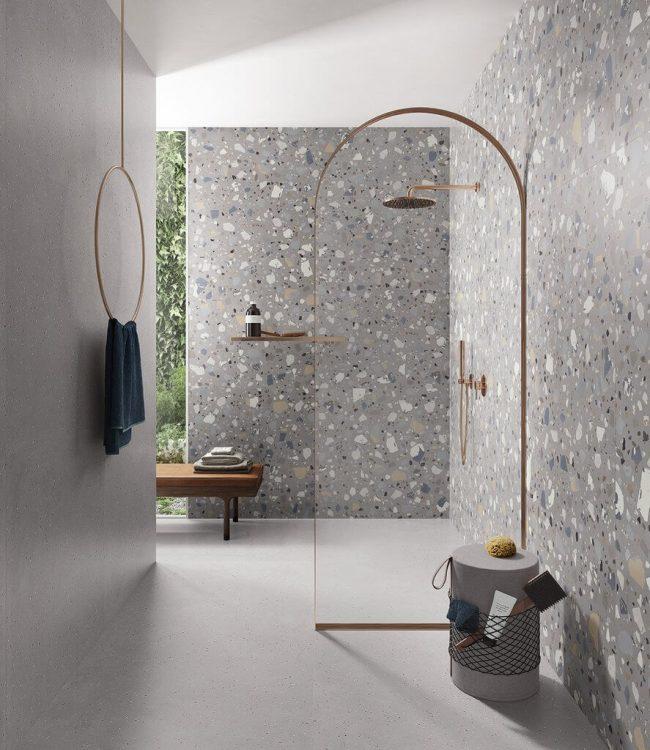 carrelage salle de bain granito gris décoration et ambiance naturelle sol murs tendance rénovation appartement Carnon