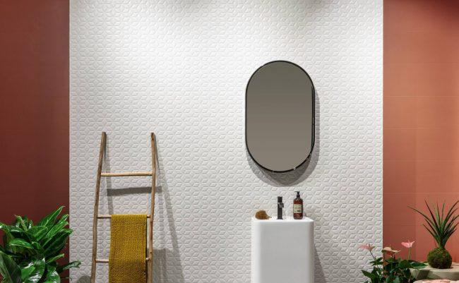 carrelage salle de bain mur rose effet 3D pour un style moderne graphique pour la rénovation d un appartement au centre ville de Vendargues