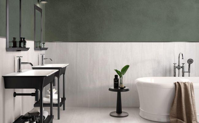 carrelage sol et murs d une salle de bain tendance vert de gris authentique marie a un carrelage effet bois construction d un appartement Baillargues