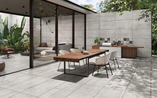carrelage effet béton banche extérieur sol et mur antidérapant pour aménagement terrasse cuisine maison individuelle moderne saint Gély du Fesc