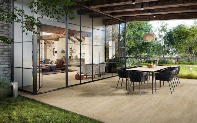 carrelage effet bois terrasse aménagée couverte extension maison de maitre Pérols