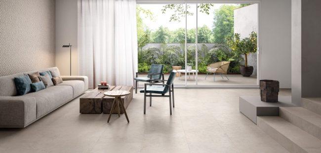 carrelage effet ciment béton greige beige intérieur extérieur rénovation maison de ville Montpellier centre ville