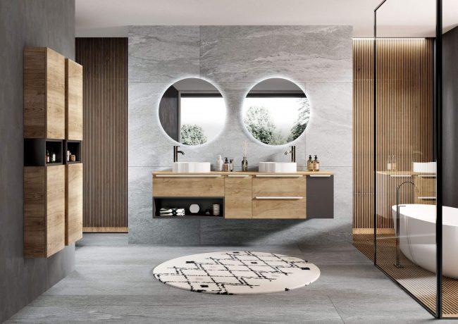 aménagement décoration salle de bain mobilier meuble sous vasque bois authentique style industriel appartement Maurin